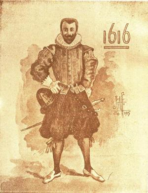Capitão Francisco Caldeira Castelo Branco (1616). Aquarela de João Affonso do Nascimento, 1915. Coleção de Obras Raras da Biblioteca Pública Arthur Vianna, Belém.